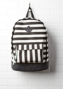 Black & White Striped Backpack