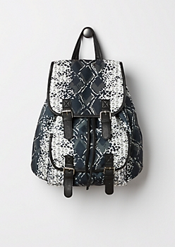Mixed Snakeskin Backpack