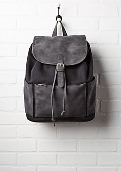 Black Jersey & Washed Faux Leather Backpack