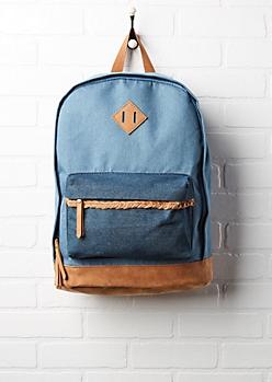 Two-Tone Denim Backpack