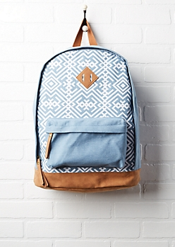 Aztec Print Denim Backpack