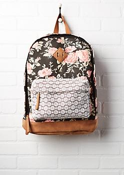 Crochet Pocket Floral Backpack