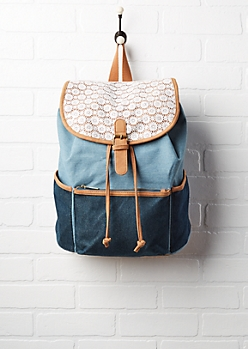 Color Block Denim & Crochet Backpack