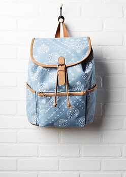 Paisley Denim Drawstring Backpack