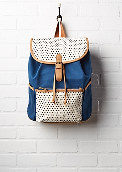 Navy & Polka Dot Bucket Backpack