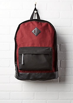 Burgundy & Black Color Block Backpack