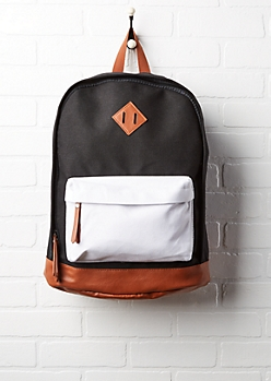 White & Black Color Block Backpack