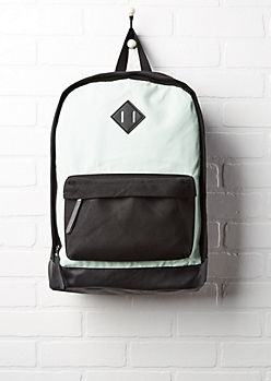 Green & Black Color Block Backpack