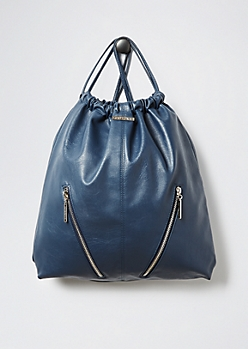 Blue Faux Leather Drawstring Backpack By Rampage®®