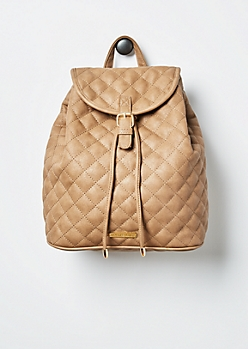 Taupe Quilted Mini Backpack By Rampage®®
