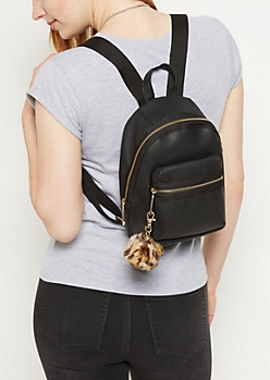 Black Pom Pom Mini Backpack