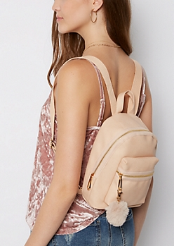 Pink Pom Pom Mini Backpack