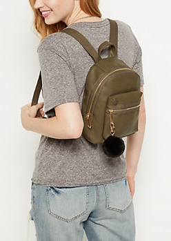 Olive Pom Pom Mini Backpack