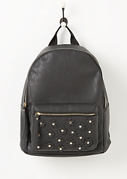 Black Flower Applique Faux Leather Backpack
