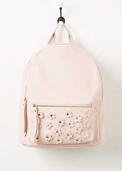 Pink Flower Applique Faux Leather Backpack