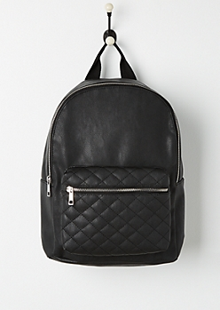 Black Quilted Faux Leather Backpack