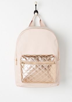 Pink Metallic Quilted Faux Leather Backpack