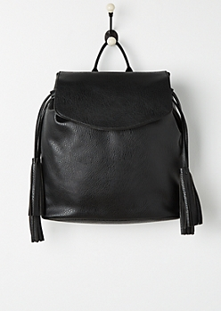 Black Tassel Faux Leather Backpack