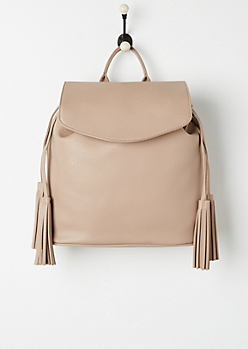 Tan Tassel Faux Leather Backpack