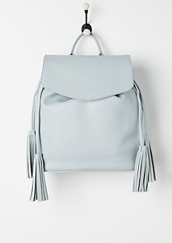 Sky Blue Tassel Faux Leather Backpack