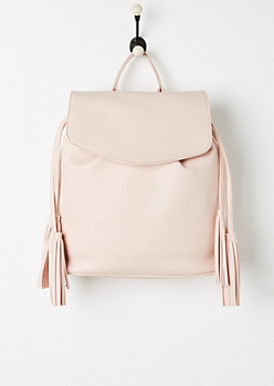 Pink Tassel Faux Leather Backpack