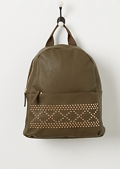 Olive Studded Backpack