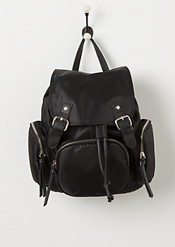 Black Nylon 3 Pocket Mini Backpack