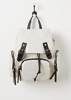 Taupe Nylon 3 Pocket Mini Backpack