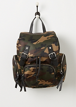 Camo Nylon 3 Pocket Mini Backpack