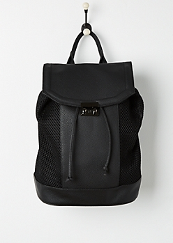 Black Mesh Paneled Backpack