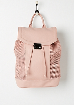 Pink Mesh Paneled Backpack