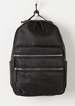 Black Nylon Double Zip Backpack