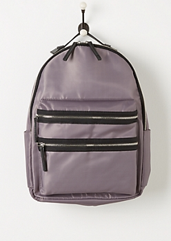 Gray Nylon Double Zip Backpack