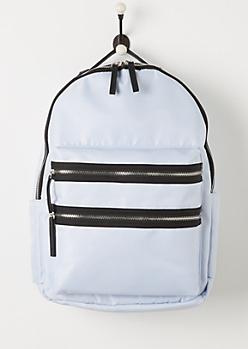 Light Blue Nylon Double Zip Backpack