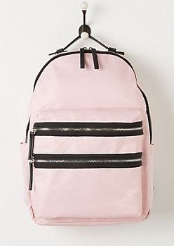 Pink Nylon Double Zip Backpack