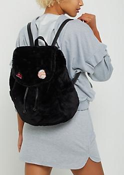 Black Faux Fur Backpack