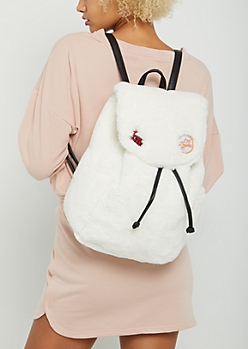 White Faux Fur Backpack
