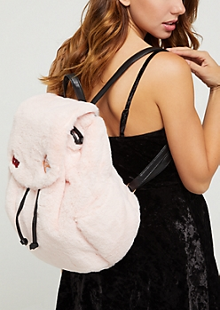 Pink Faux Fur Backpack