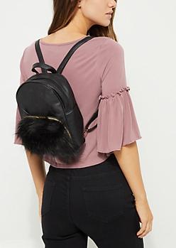 Black Faux Fur Cat Mini Backpack