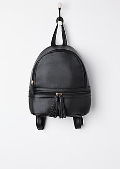Black Tasseled Mini Backpack