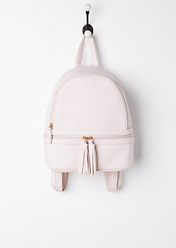 Pink Tasseled Mini Backpack