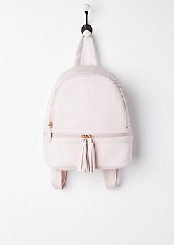 Pink Tasseled Mini Backpack