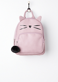 Kitty Ears Mini Backpack & Plush Pom