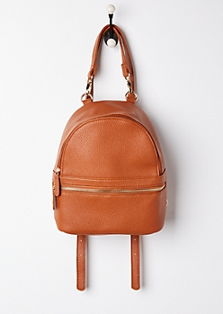 Brown Faux Leather Mini Backpack