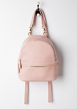 Pink Faux Leather Mini Backpack