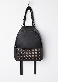 Black Grommet Mini Backpack