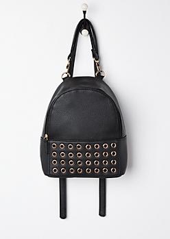 Black Grommet Mini Backpack