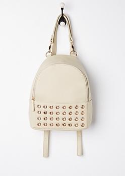 Taupe Grommet Mini Backpack