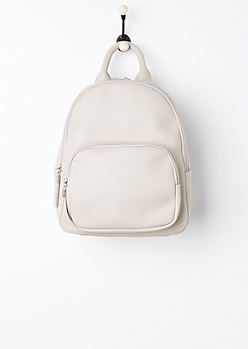 Gray Faux Leather Mini Backpack