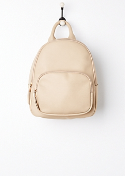 Taupe Faux Leather Mini Backpack